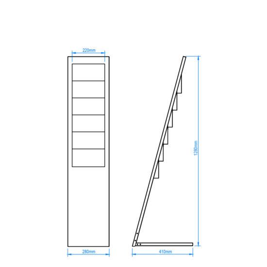 Metal Brochure Stand Planar6 Size