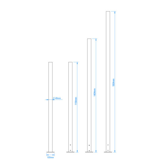Outdoor Stand POST Kit Sizes