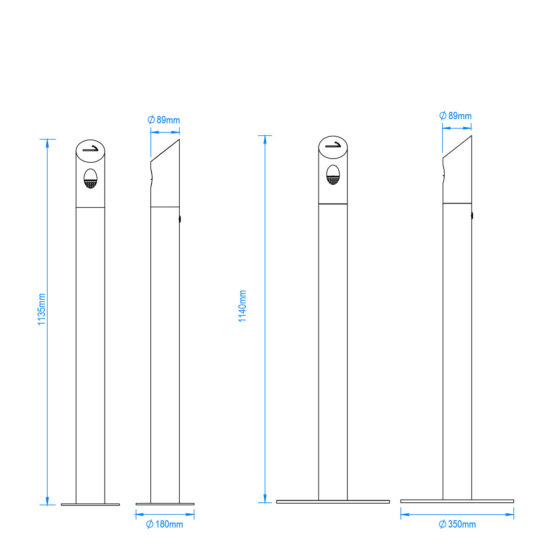 Ash Bin Tube Freestanding Sizes