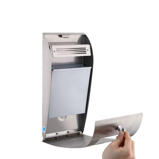 Cigarette Bin Curved Midi Stainless open
