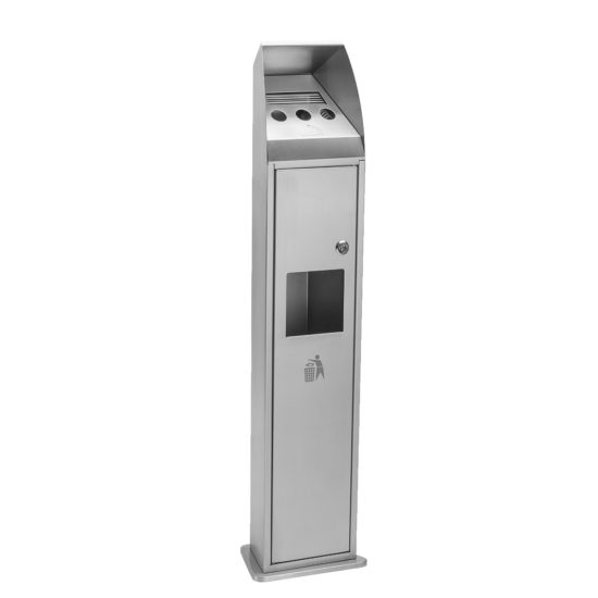 Free Standing Ash Bin Combo Tower Stainless