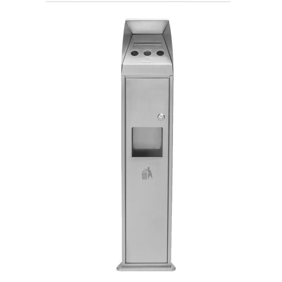 Free Standing Ash Bin Combo Tower Stainless Front