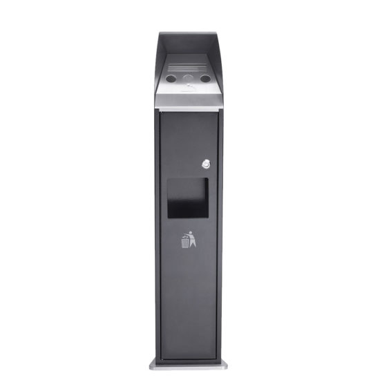 Free Standing Ash Bin Combo Tower Black Front