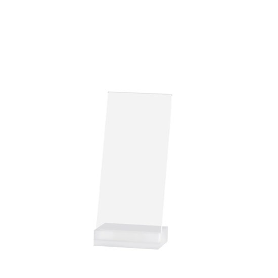 Counter Sign Holder Angled, Element Acrylic, Frost White, DL, Blank