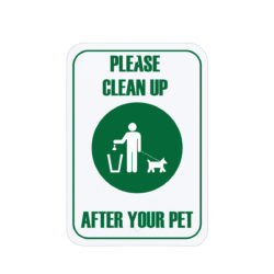 Dog Cleanup Sign Green English