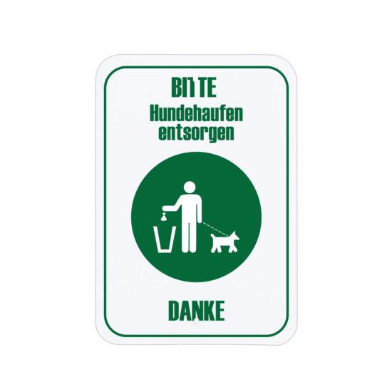 Dog Cleanup Sign Green Deutsch