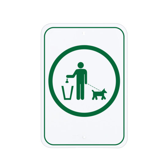 Dog Cleanup Sign Green, no text