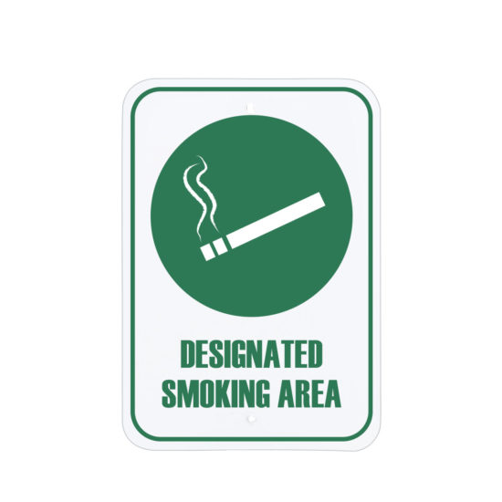 Facility Signs Designated Smoking Area Sign Green English