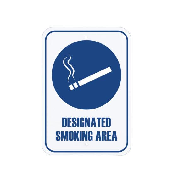 Facility Signs Designated Smoking Area Sign Blue English