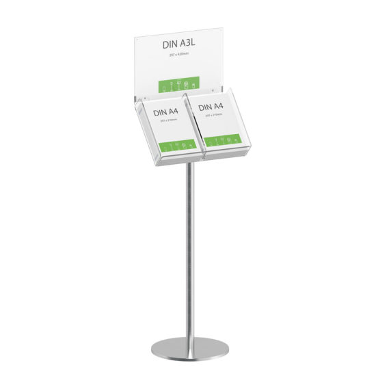 Literature Stand Q EZI Stainless Steel, Brochure Holder with Sign 2xA4