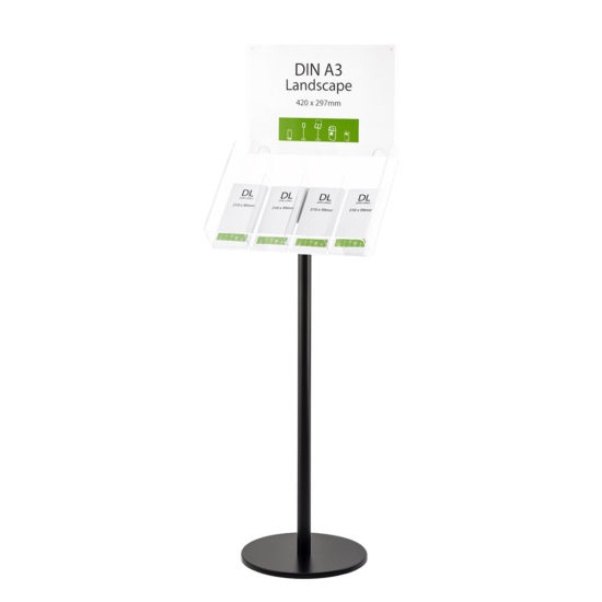 Literature Stand Q EZI Black, Brochure Holder with Sign 4xDL