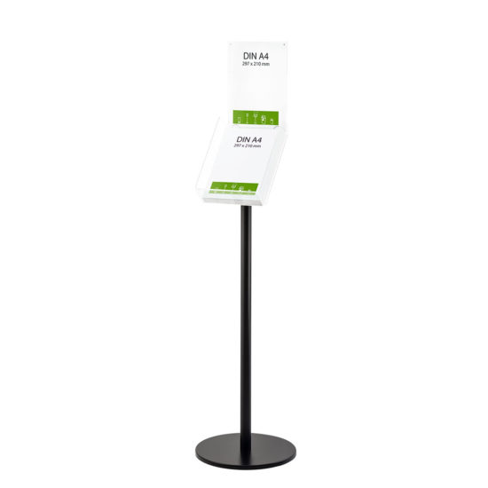 Literature Stand Q EZI Black, Brochure Holder with Sign A4