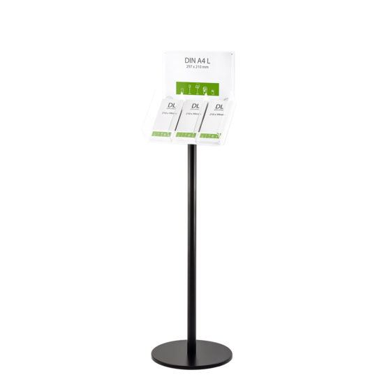 Literature Stand Q EZI Black, Brochure Holder with Sign 3xDL