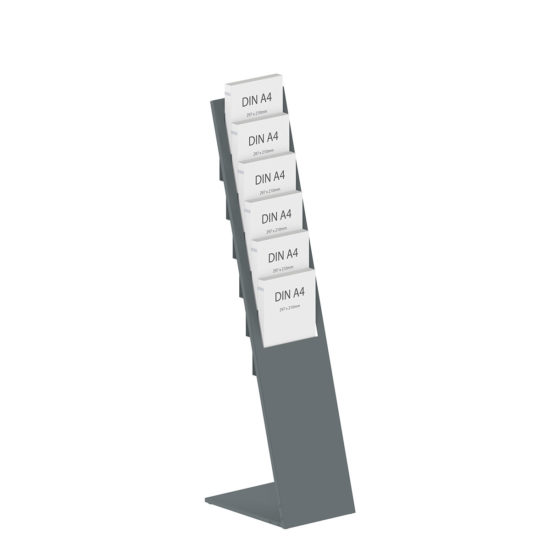 Metal Brochure Stand Planar Dark Gray A4 with brochures
