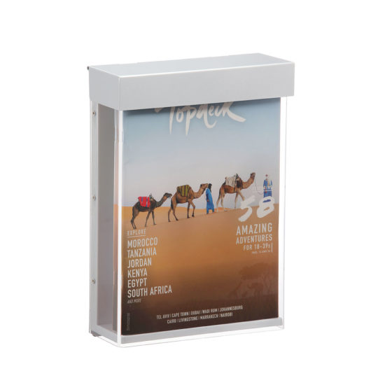 Outdoor Brochure Holder-Shield A4, with brochures
