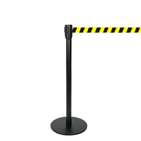 Q EZI 4way Retractable Barrier, Black, Black Yellow