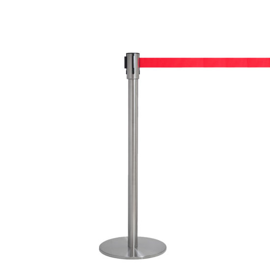 Q EZI 4way Retractable Barrier, Stainless Red