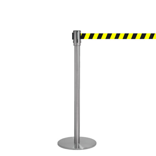 Q EZI 4way Retractable Barrier, Stainless Black Yellow