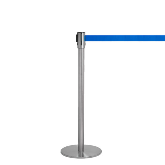 Q EZI 4way Retractable Barrier, Stainless Blue