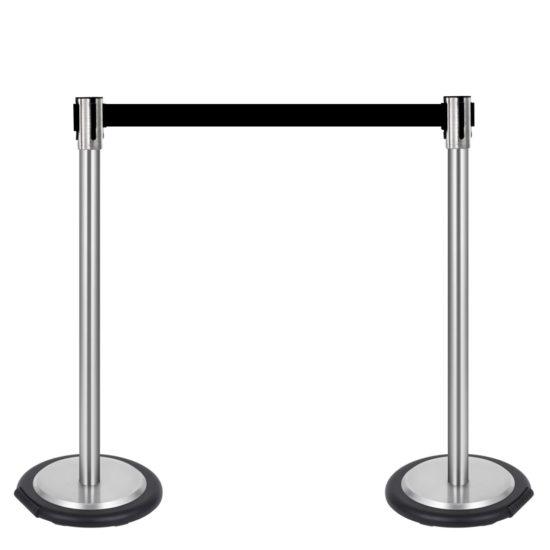 Ergonomic Q EZI 4way Retractable Barrier, Stainless set