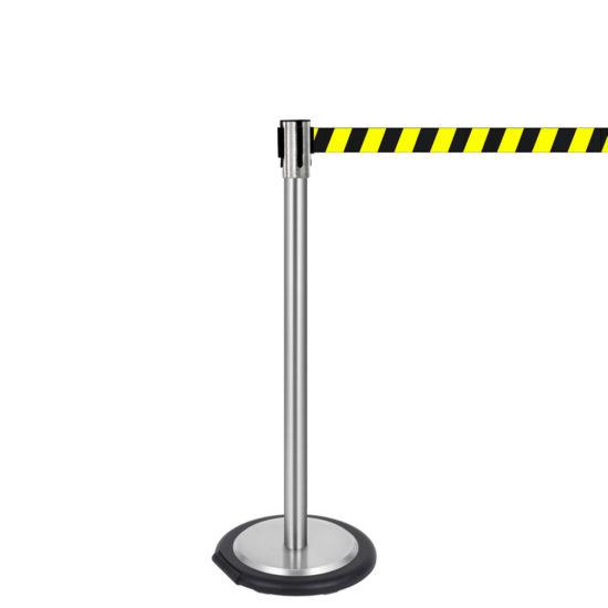Ergonomic Q EZI 4way Retractable Barrier, Stainless Black Yellow