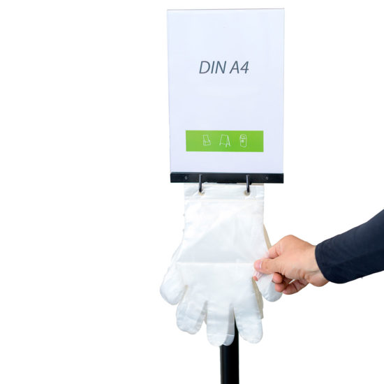Q EZI Glove Dispenser Stand Black A4 in Use
