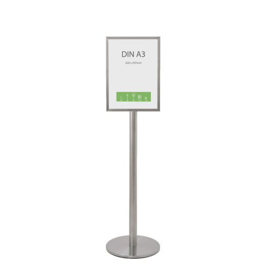 Stainless Steel Display Stand Q EZI Frame A3 front