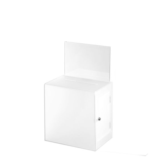 Ballot Box with Sign Collect Clear White