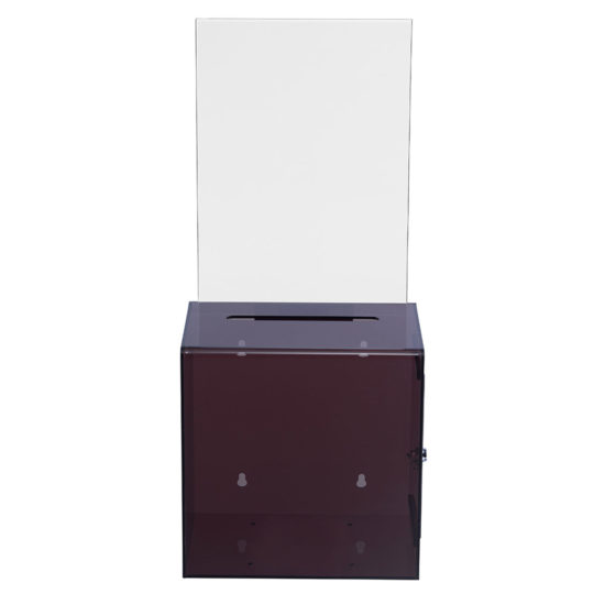 Suggestion Box with Sign Collect XL Clear Black front