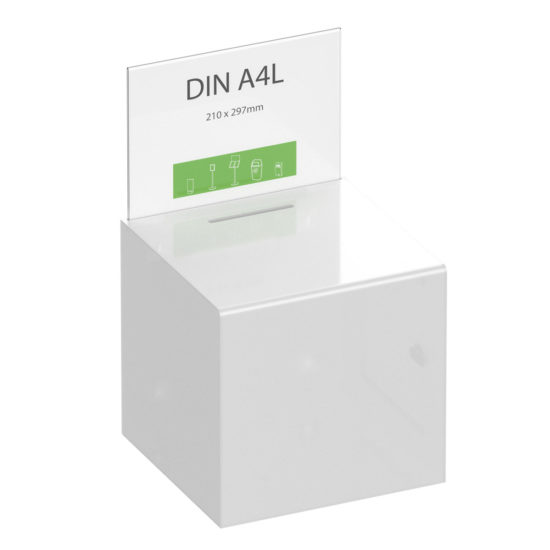 Suggestion Box Collect XL Clear White with sign main