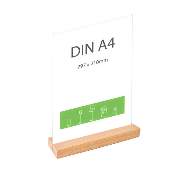 Table Sign Holder Element Beech A4 Straight