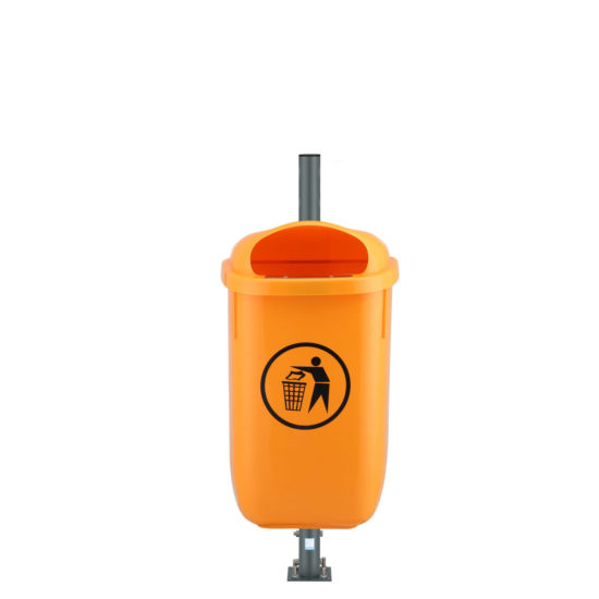 City Outdoor Bin Urbin Orange on post