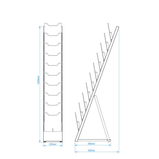 Floor Standing Brochure Holder Lean Size