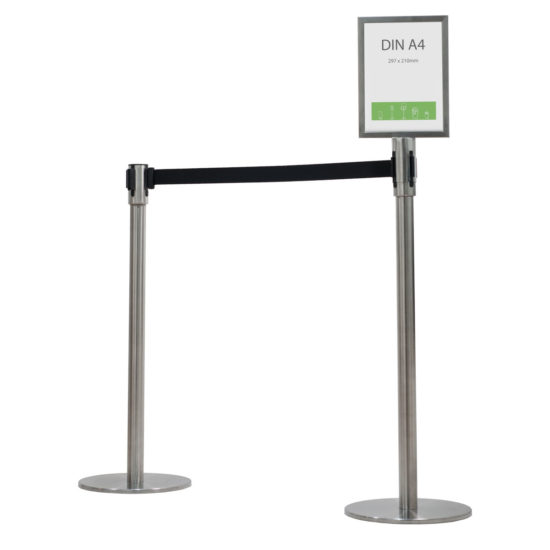 Q-EZ Crowd Control 4way Retractable Barrier with sign