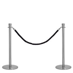Crowd Control Q EZI Rope Barrier, Brushed Stainless Steel